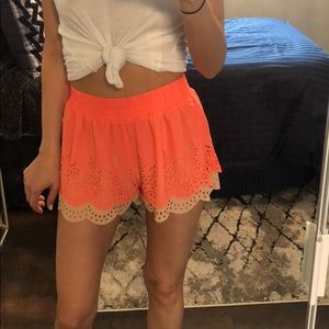 Blue pepper Sheer color block cut out shorts coral
